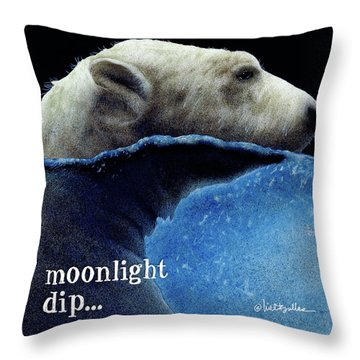 Throw Pillow featuring the painting Moonlight Dip... by Will Bullas