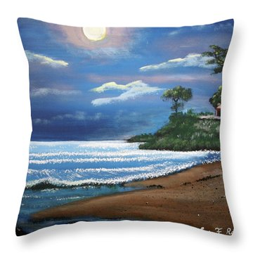 Moonlight In Rincon II Throw Pillow by Luis F Rodriguez