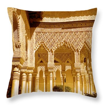 Moorish Architecture In The Nasrid Palaces At The Alhambra Granada Throw Pillow by Mal Bray