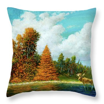 Moose Country Throw Pillow