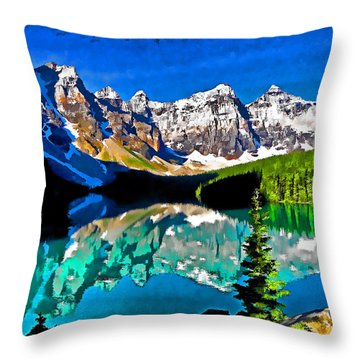 Moraine Lake Throw Pillow by Dennis Cox WorldViews