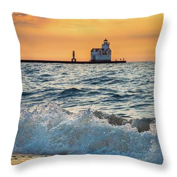Throw Pillow featuring the photograph Morning Dance On The Beach by Bill Pevlor