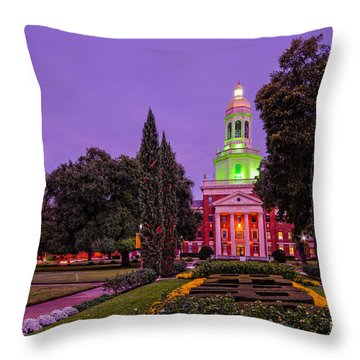 Morning Twilight Shot Of Pat Neff Hall From Founders Mall At Baylor University - Waco Central Texas Throw Pillow