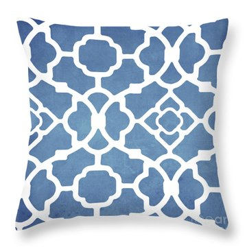 Moroccan Blues Throw Pillow