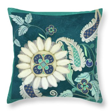 Throw Pillow featuring the painting Moroccan Paisley Peacock Blue 1 by Audrey Jeanne Roberts