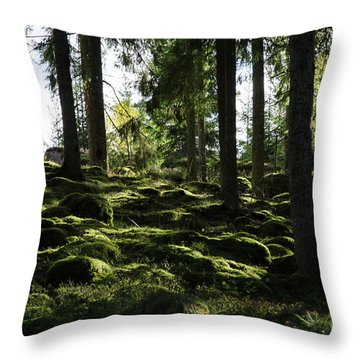 Throw Pillow featuring the photograph Mossy Rocks by Kennerth and Birgitta Kullman