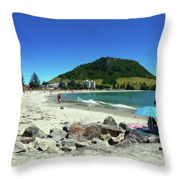 Mount Maunganui Beach 1 - Tauranga New Zealand Throw Pillow by Selena Boron