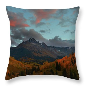 Mount Sneffels Sunset During Autumn In Colorado Throw Pillow by Jetson Nguyen