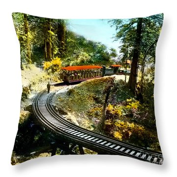 Mount Tamalpais Railway In The 1890s California Throw Pillow