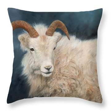 Mountain Goat Throw Pillow by David Stribbling