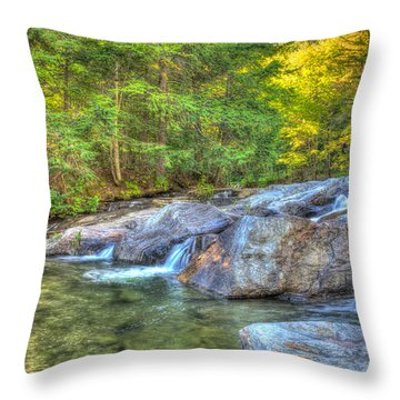Mountain Stream Waterfalls Throw Pillow