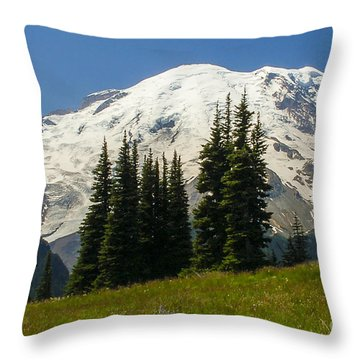 Mt. Rainier Alpine Meadow Throw Pillow