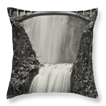 Multnomah Falls Upclose Throw Pillow by Don Schwartz