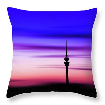Throw Pillow featuring the photograph Munich - Olympiaturm At Sunset by Hannes Cmarits