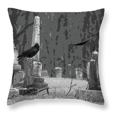 Murder Of Crows Throw Pillow by Rowana Ray