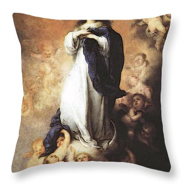 Murillo Immaculate Conception  Throw Pillow by Bartolome Esteban Murillo