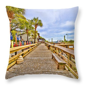 Murrells Inlet Marshwalk Throw Pillow