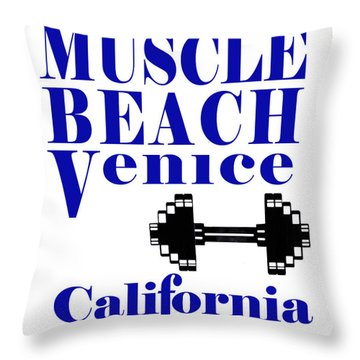 Muscle Beach Sign Throw Pillow by Robert Hebert