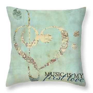 Music Is My First Love V3 Throw Pillow by Brandi Fitzgerald