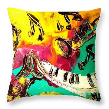 Music Jazz Throw Pillow by Mark Kazav