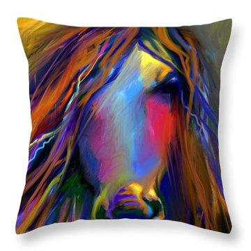 Mustang Horse Painting Throw Pillow