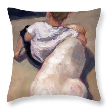Throw Pillow featuring the painting My Beau by Molly Poole