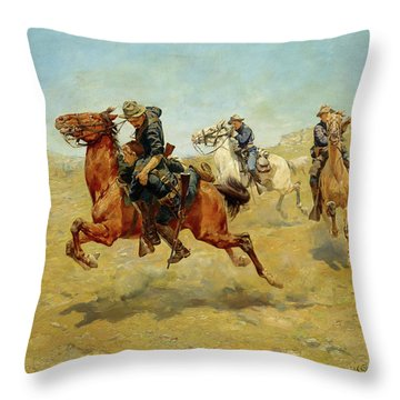 Throw Pillow featuring the painting My Bunkie by Charles Schreyvogel