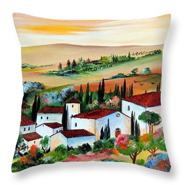 My Dream Village Throw Pillow