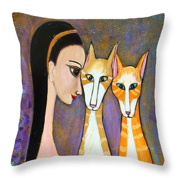 My Two Cats Throw Pillow