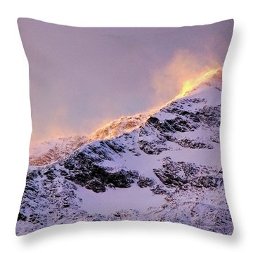 mystery mountains in North of Norway Throw Pillow
