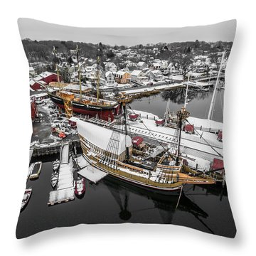 Throw Pillow featuring the photograph Mystic Seaport In Winter by Petr Hejl