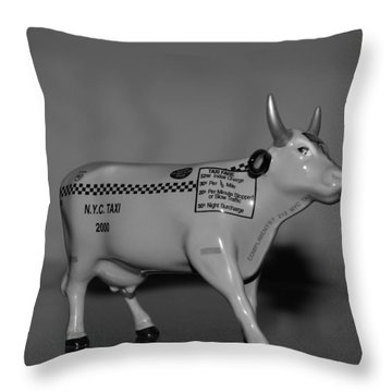 N Y C Taxi Cow Throw Pillow by Rob Hans