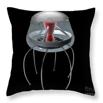 Nanobot Illustration On Black Throw Pillow