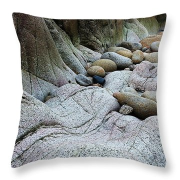 Throw Pillow featuring the digital art Nanven Rocks by Julian Perry