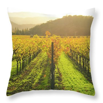 Napa Valley California Vineyard In The Fall Throw Pillow