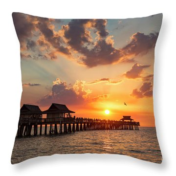 Throw Pillow featuring the photograph Naples Pier At Sunset by Brian Jannsen