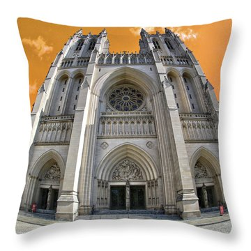 Throw Pillow featuring the photograph National Cathedral by Mitch Cat