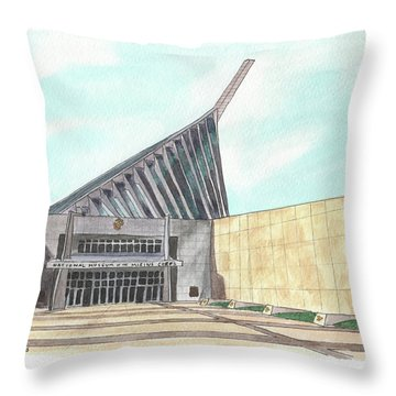 Throw Pillow featuring the painting National Museum Of The Marine Corps by Betsy Hackett