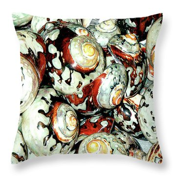 Throw Pillow featuring the photograph Naturally Colored Seashells - Florida Key's Exhibit by Merton Allen