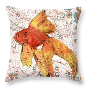 Throw Pillow featuring the painting Nautical Treasures-g by Jean Plout