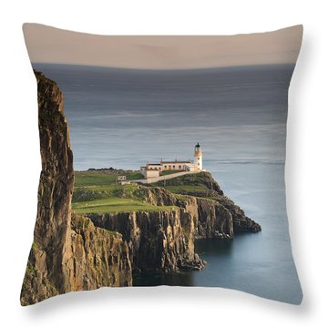 Neist Point At Sunset Throw Pillow