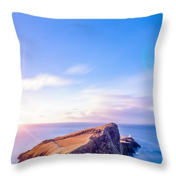 Neist Point Lighthouse At Dawn Throw Pillow