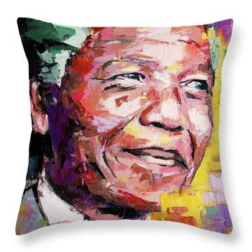 Nelson Mandela Throw Pillow by Richard Day