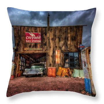 Nelson Nevada, Weathered Garage, Car, And Gas Pump Throw Pillow