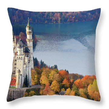 Throw Pillows Magnolia : Neuschwanstein Castle In Autumn Colours Photograph by Henk Meijer Photography