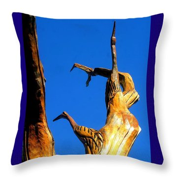 New Orleans Bird Tree Sculpture In Louisiana Throw Pillow by Michael Hoard