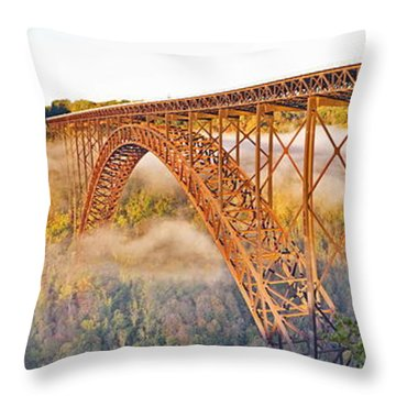 New River Gorge Bridge Morning Fall Panorama Throw Pillow