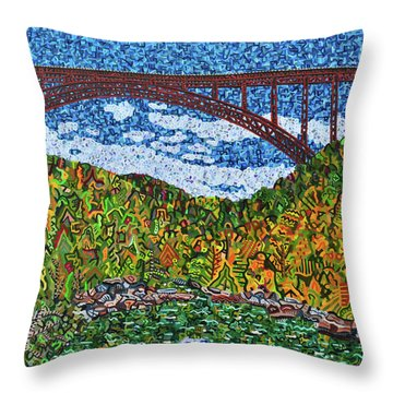 New River Gorge Throw Pillow by Micah Mullen