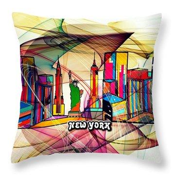 New York By Nico Bielow Throw Pillow by Nico Bielow