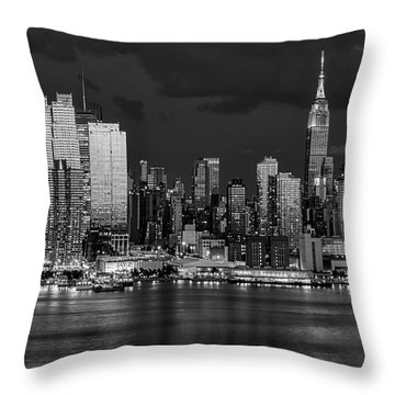 Throw Pillow featuring the photograph New York City Skyline Pride Bw by Susan Candelario